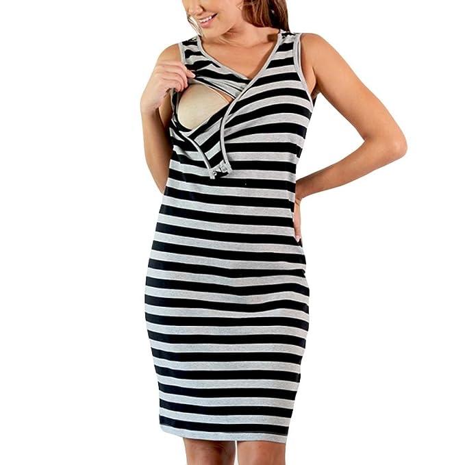 URSING Mode Schwanger Damen Gestreift Drucken Ärmellos Stillzeit  Multifunktions-Kleid Schwangerschaftkleid Umstandskleid Freizeitkleid  Jerseykleid ... 0880391ba1