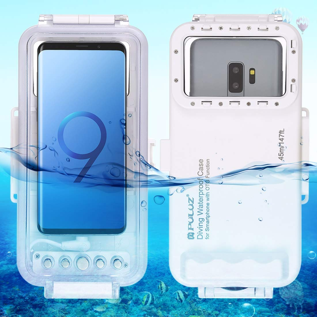 PULUZ Professional [45m/147ft] Diving Surfing Swimming Snorkeling Photo Video Waterproof Protective Case Underwater Housing for Galaxy, Huawei, Xiaomi and All Android OTG Smartphones with Type-C Port by PULUZ