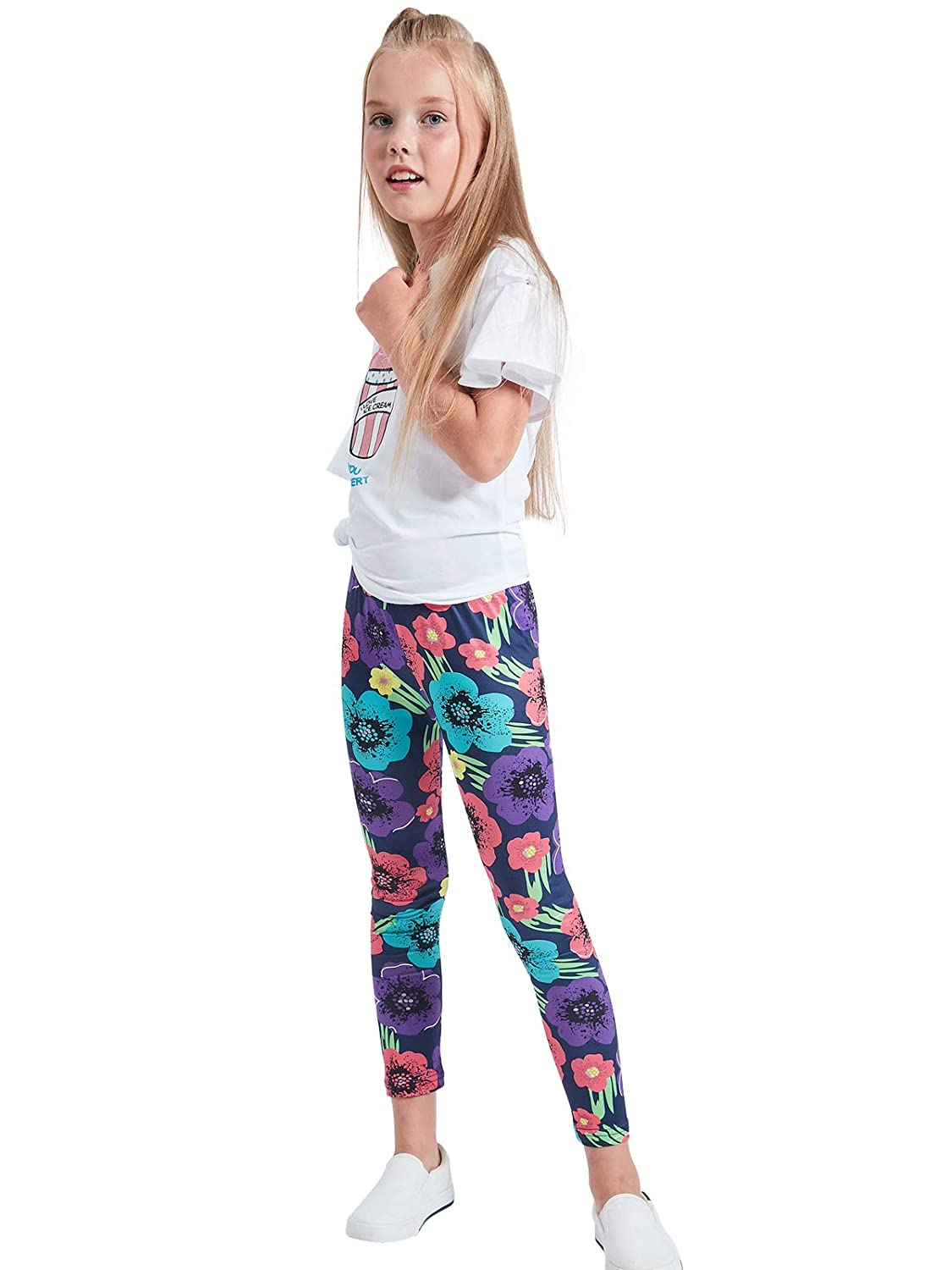 84391c1aa76fb Amazon.com: iLover Girls Stretch Leggings Tights Kids Pants Plain Full  Length Children Trousers, Age 4-13 Years: Clothing