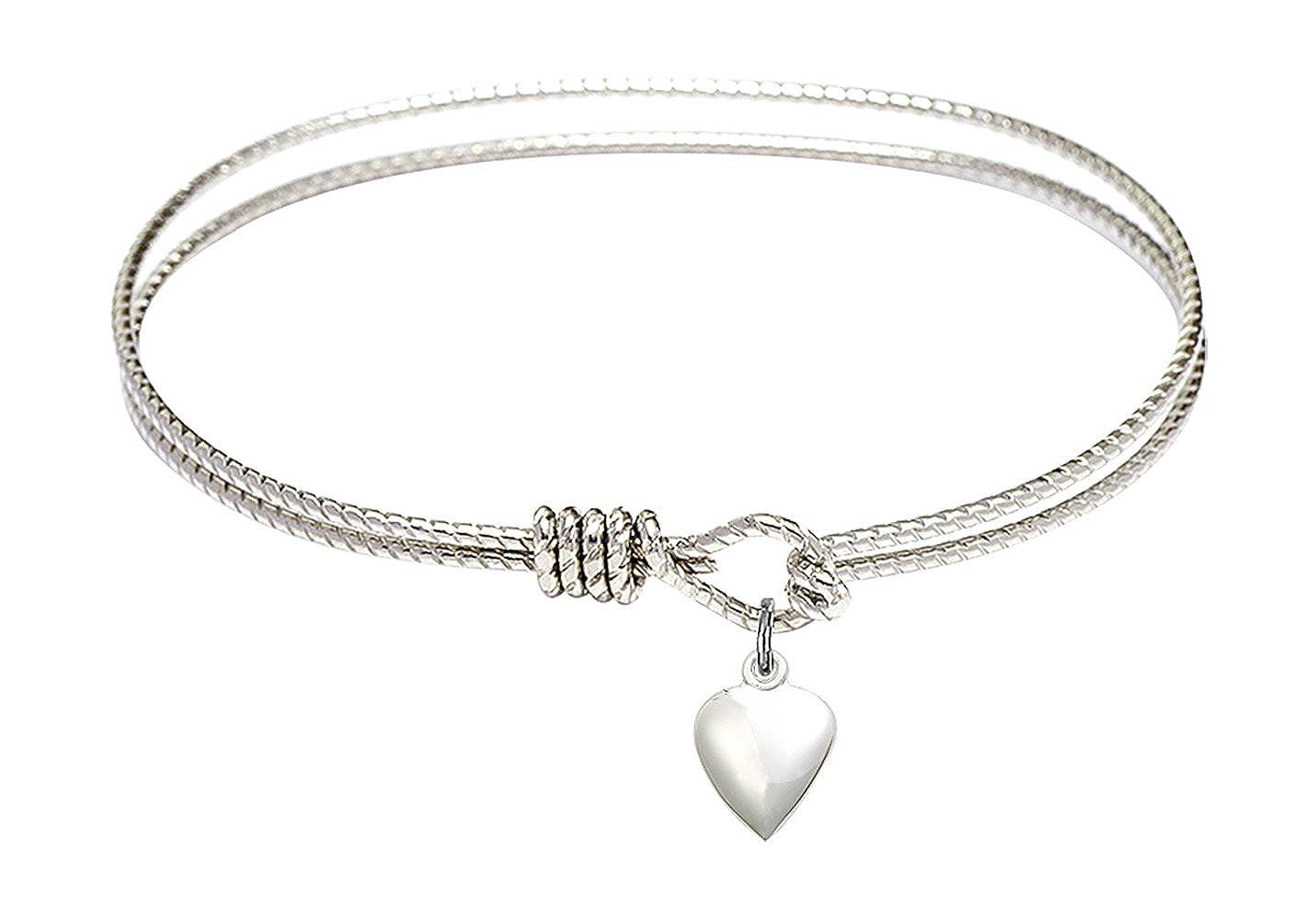 Bonyak Jewelry Oval Eye Hook Bangle Bracelet w//Heart in Sterling Silver