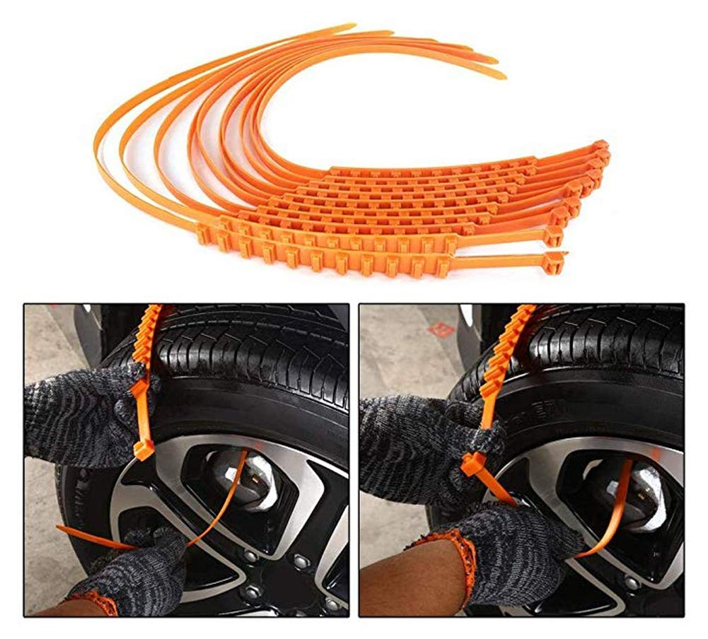 GOBEAUTY 10 Pcs Car Snow Tire Anti-Skid Chains Tire Snow Chains Wheel Tyre Cable Belt