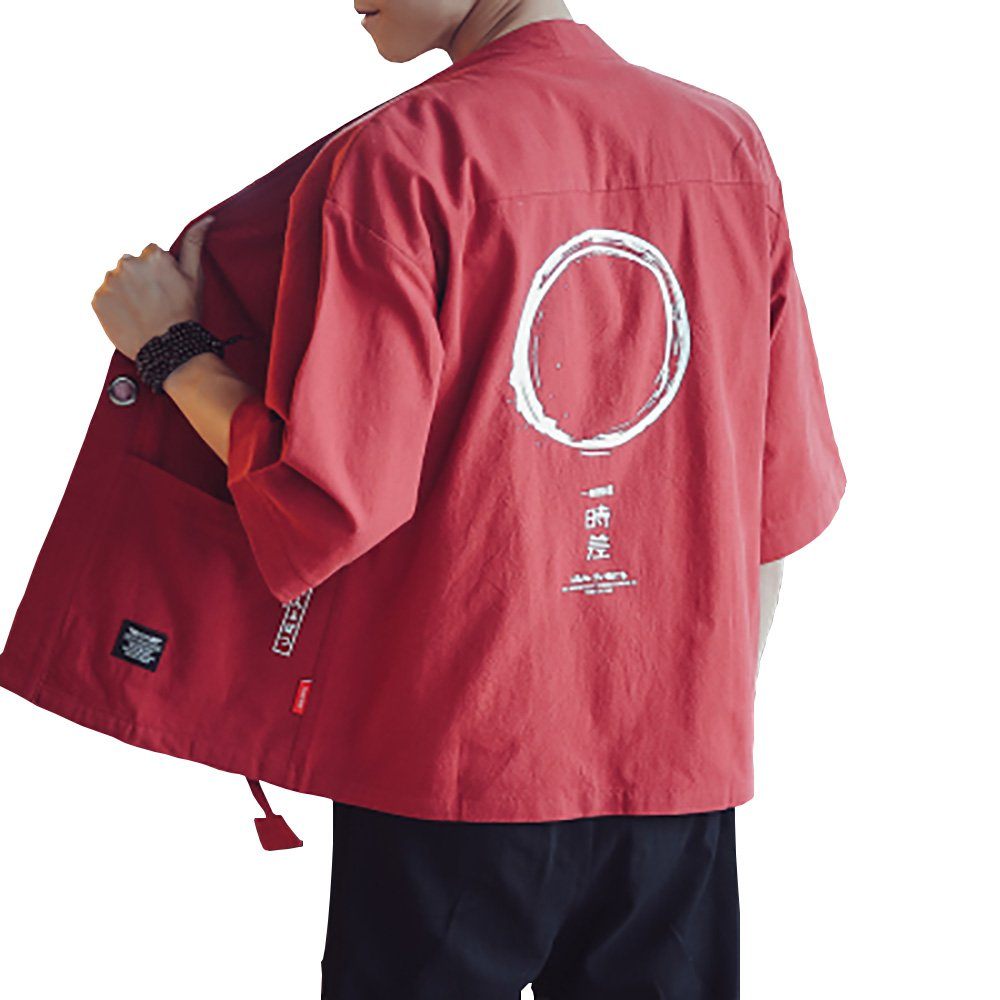 Hao Run Men Japanese Yukata Coat Kimono Cardigan Retro Linen Loose Jacket