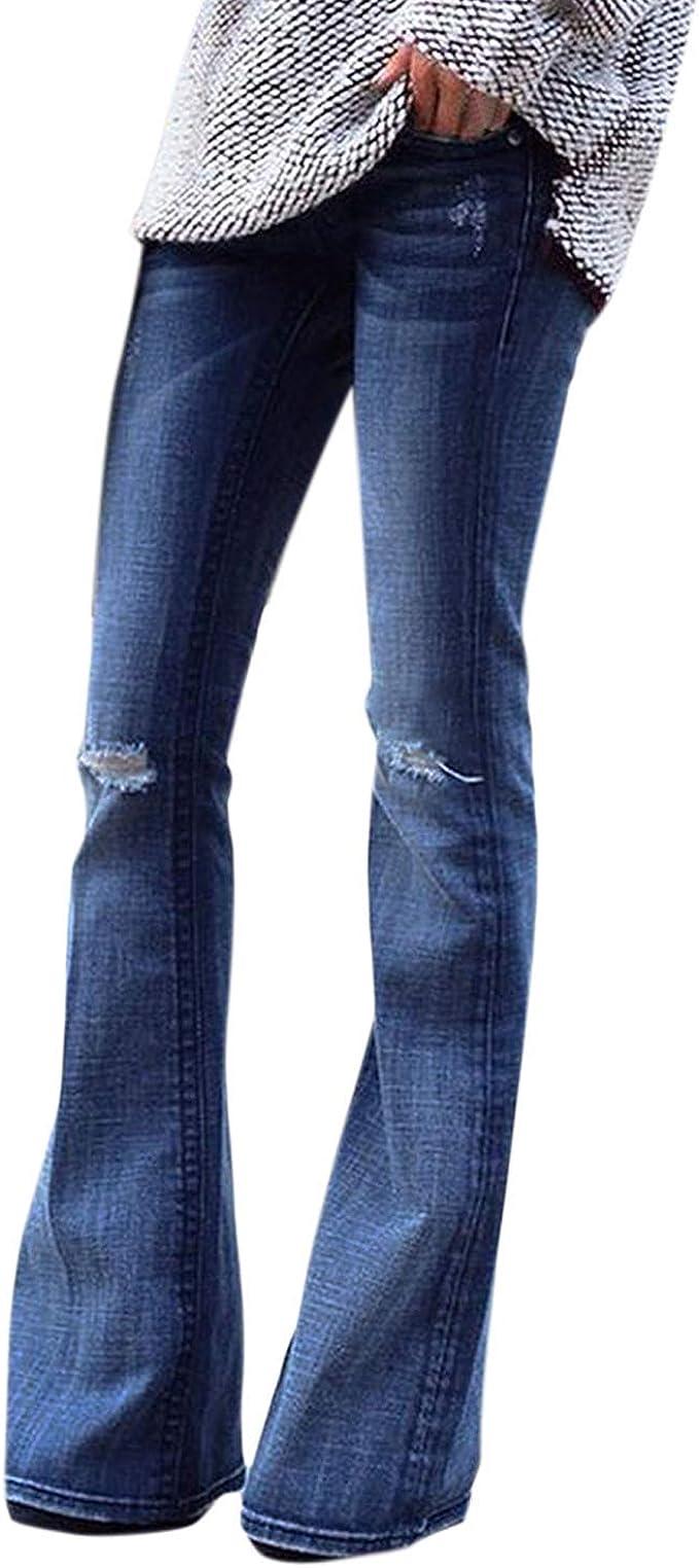 Petalum Damen Jeans Schlaghose Flared Bootcut Hose Mode Slim