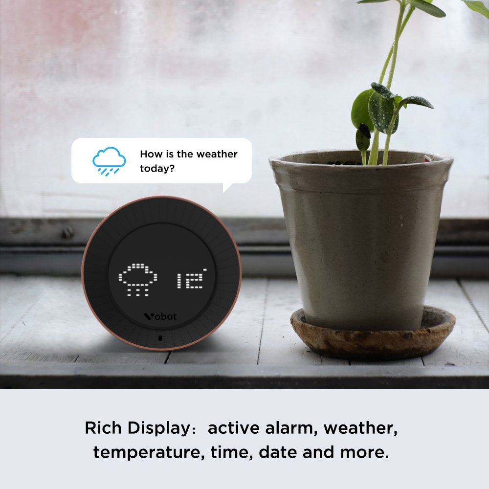 Vobot Smart Alarm Clock with Amazon Alexa[Touch-Initiate], 5W Speaker, LED Display, White Noise Machine, Timer/Date/Weather/Daily News/Radio/Music(Amazon Music, iHeartRadio, TuneIn etc) by VOBOT (Image #6)
