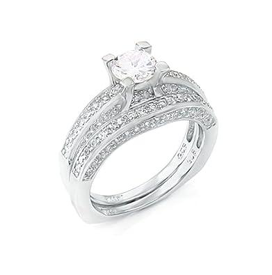 Amazon Com 85 Ct Wedding Ring Designer Set 925 Silver Jewelry