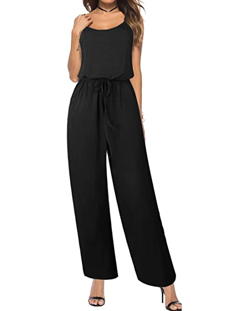 available sale discount coupon Famulily Women's Comfy One Piece Jumpsuit Loose Sleeveless Wide Leg Long  Pants Romper