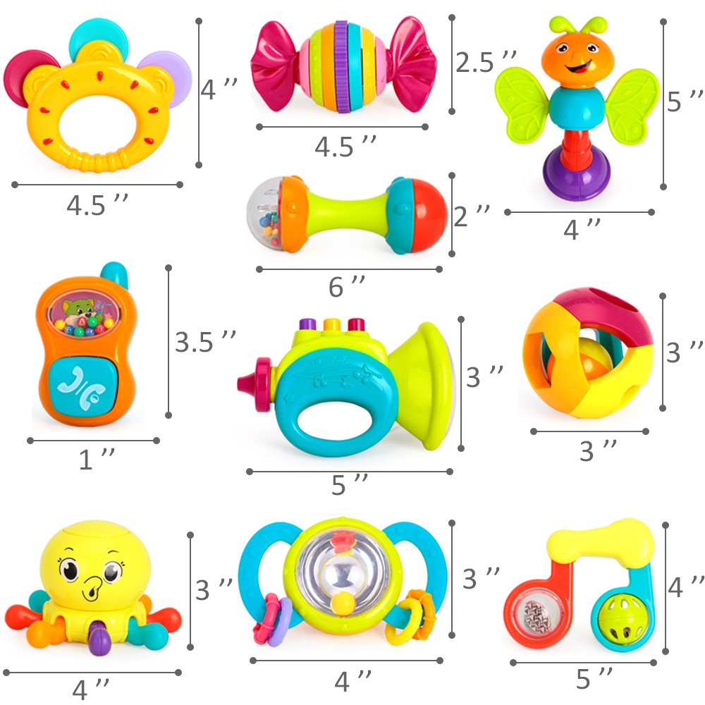 iPlay, iLearn 10pcs Baby Rattles Teether, Shaker, Grab and Spin Rattle, Musical Toy Set, Early Educational Toys for 3, 6, 9, 12 Month Baby Infant, Newborn by iPlay, iLearn (Image #9)