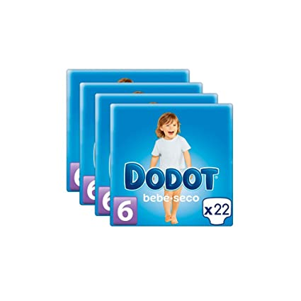 5c445894da43 Pañales DODOT Talla 6 88 unidades (4 paquetes de 22 pañales) (13+ kg ...