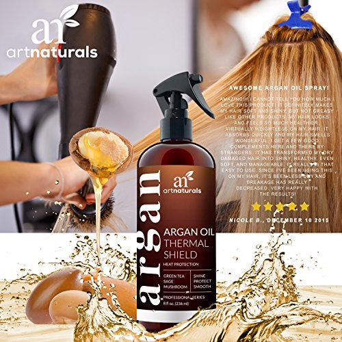 ArtNaturals Thermal Hair Protector Spray - 8.0 Oz - Protective Spray against Flat Iron Heat - Contains 100% Organic Argan Oil Preventing Damage, Breakage & Split Ends - Made in the USA - Sulfate Free by ArtNaturals (Image #5)