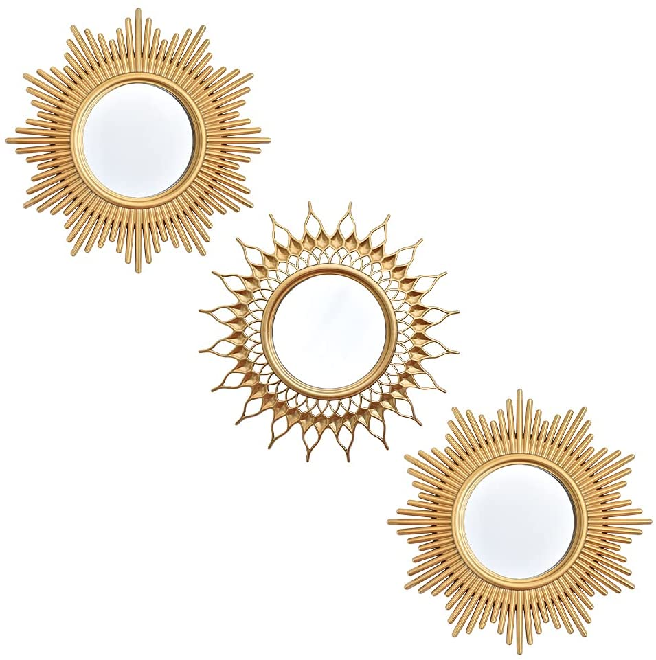 Small Wall Mirrors Decorative Living Room Set of 3   Round Mirrors for Wall Decor Bedroom   Circle Mirror Wall Decor   Decorative Mirrors Home Accessories (style0021)