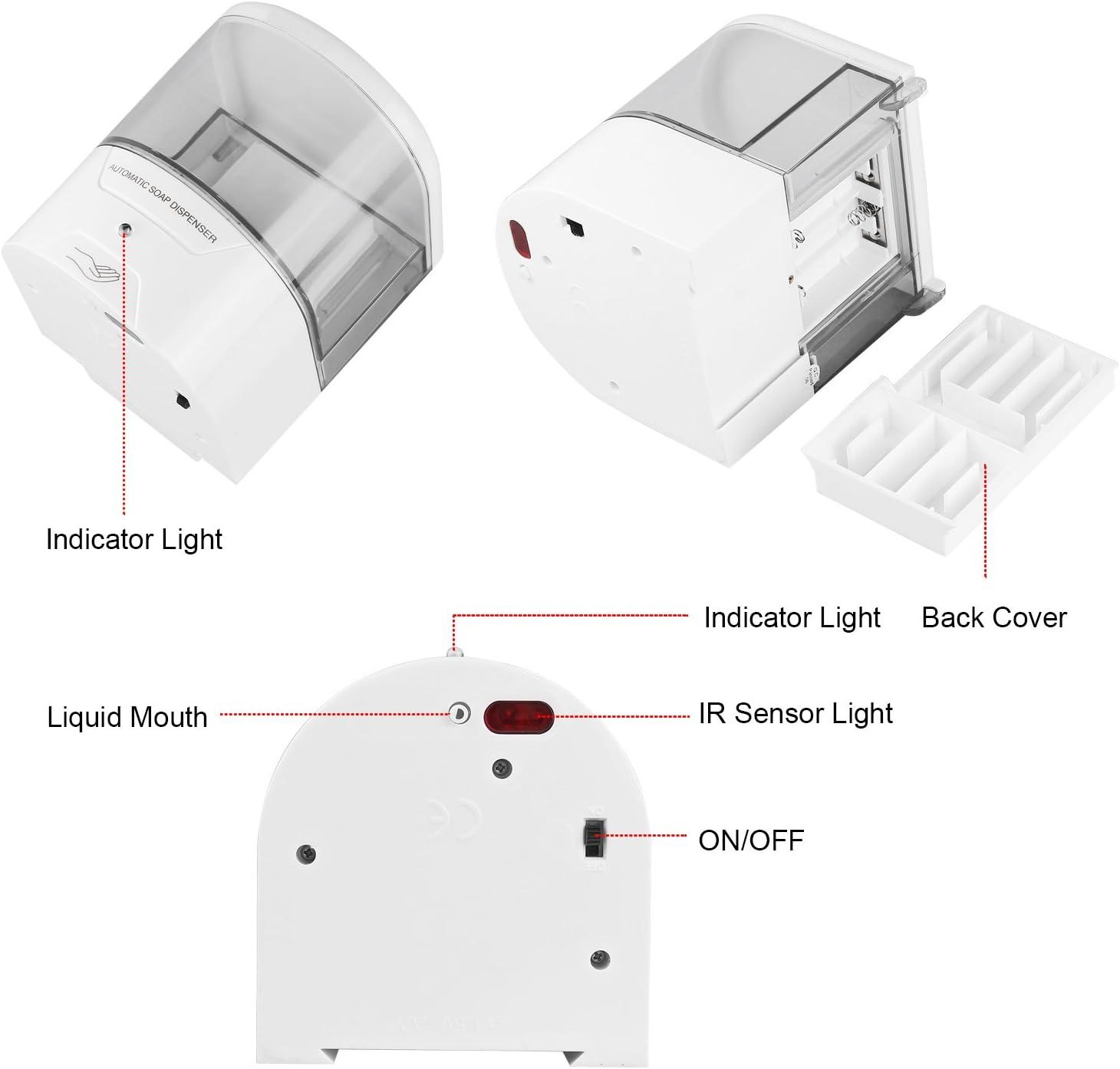Senza Contatto per Bagno in Cucina Dose di Rilascio 1 Ml Sensore Ir Automatico Blingbin Dispenser di Sapone da 600 Ml a Parete Pompa per Lozione del Sapone da Cucina Alimentata a Batteria