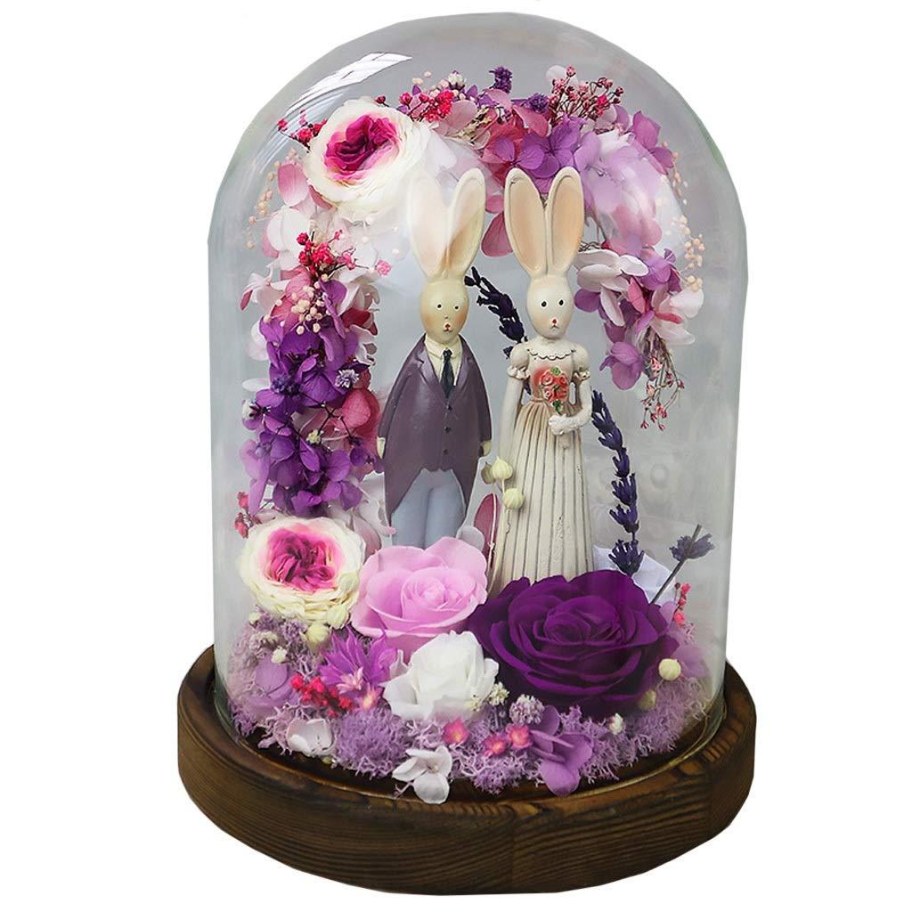 保存生花、母の日、恋人の誕生日、バレンタインギフト、結婚式の青のためのガラスの不滅のバラの花のギフト (色 : 紫の) B07QKBPBV7 紫の