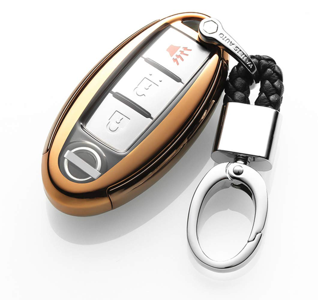 YUWATON Car Remote Control Cover Key Cover Key Case for Nissan Teana X-Trail Qashqai Murano Kicks TIIDA Maxima Remote Control Decorative Protection Accessories Gold