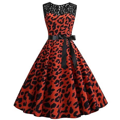 SMILEQ Dress Women Vintage 1950s Ball Gown Retro Sleeveless O Neck Skirt Leopard Print Sundress Evening Party Prom Swing Dresses