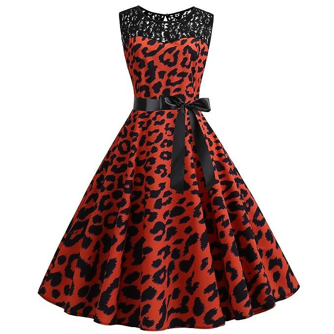 9311771fa415 Vintage 1950s Women's Lace O-Neck Sleeveless Leopard Print Swing Dresses  with Sashes, Smony Elegant Ladies Retro Party Dress, Plus Size S-2XL:  Amazon.co.uk: ...