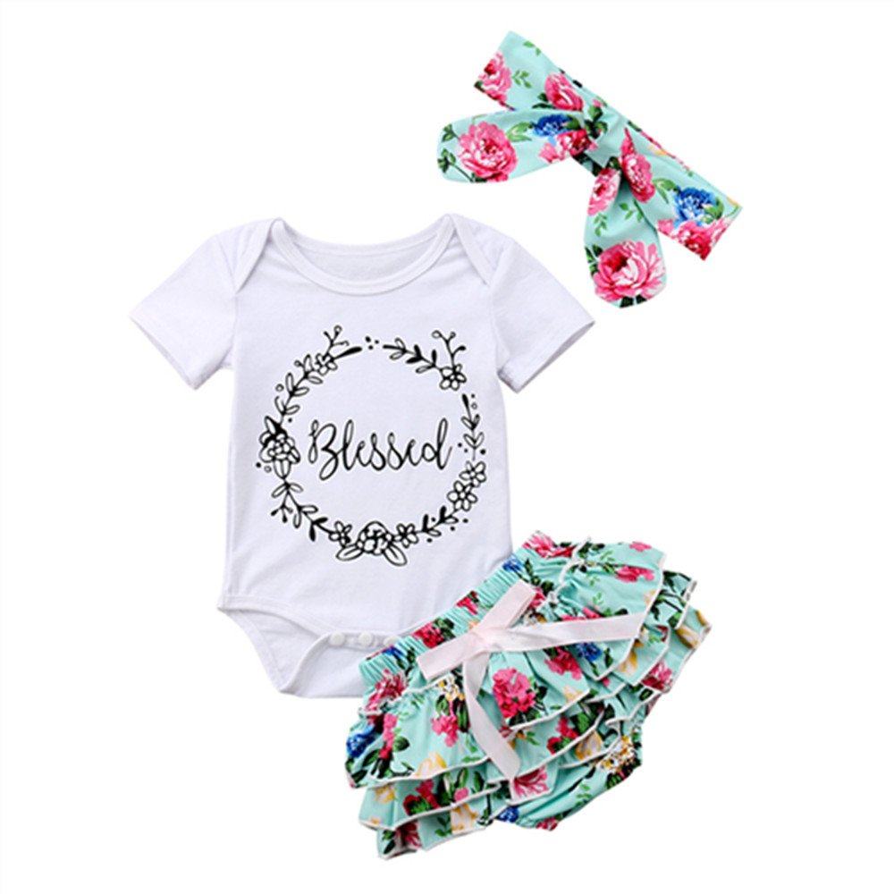 a757f69a6 ❤Baby Girl Coming Home Outfit,Short Sleeve romper white shirt+Headband+  flowers Tutu shorts,3Pcs Toddler Girl Summer Clothing Set (Attention: this  tutu ...