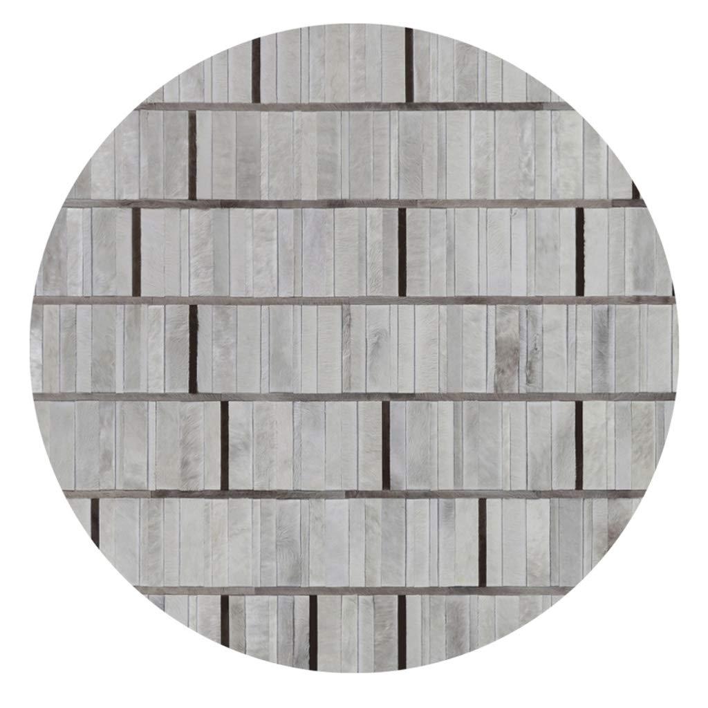 カーペット ラグカーペットラウンドハンドメイドストライプクリエイティブスタディベッドルームフロアマット - 黒と白のグレーのレザーステッチマット (サイズ さいず : 1.4m) 1.4m  B07PMQ4PHL