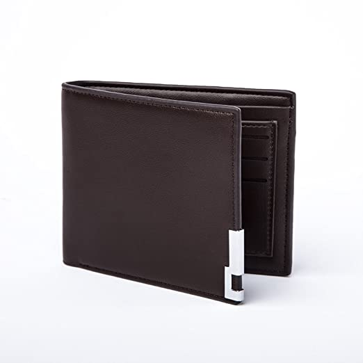 117105560033 Slim Bifold Wallet for Men - Minimalist Fashion Leather Metal RFID Wallet  With ID Window