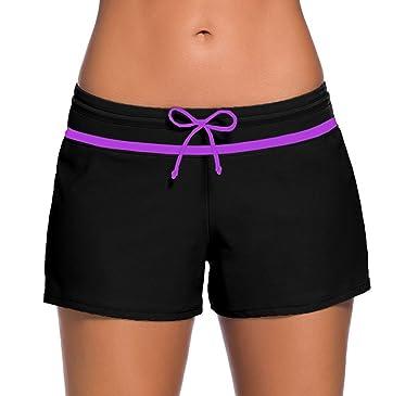 4f944ccbea Sythyee Women's Swim Boardshorts Tankini Boyshorts Beach Bottom Swimsuit  Built in Briefs Black & Purple Size