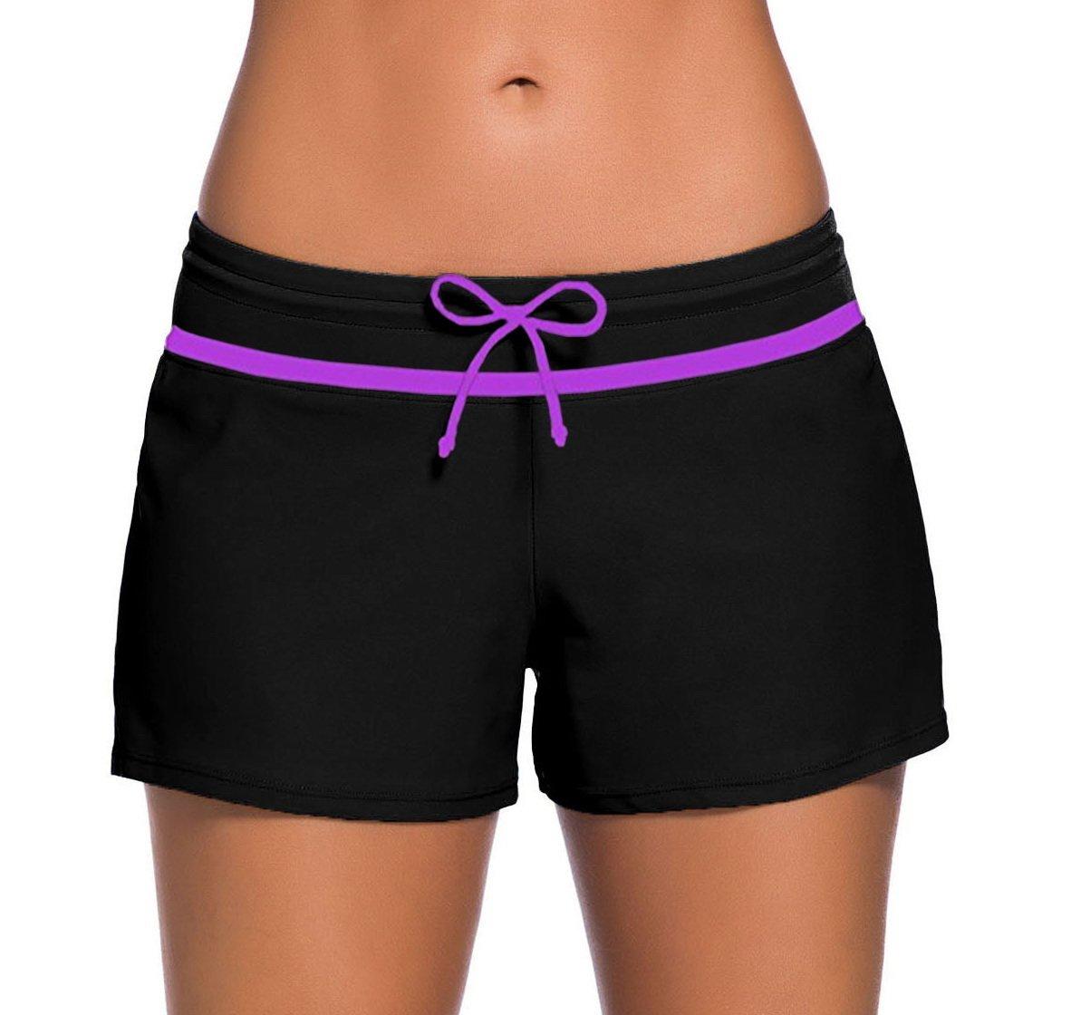 Sythyee Women's Swim Boardshorts Tankini Boyshorts Beach Bottom Swimsuit Built in Briefs Black & Purple Size XL