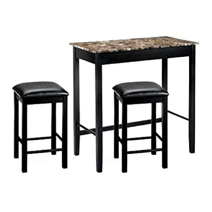 d004e06047 ghy Ηightop Table Set Faux Marble Top Black Wood Frame Bar Stools  Artificial Leather Dining Room