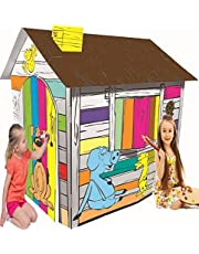 Littlefun Kid's Foldable Premium Corrugated Cardboard Playhouse Child Outdoor Indoor DIY Painting Imagination Toy Play House (Happy Farm Cottage)