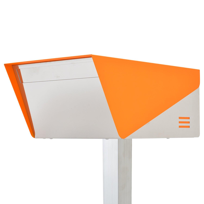 San Jose light(サンノゼライト) ディープ 郵便ポスト ポール付き スタンド型 ステンレス製 鍵付き おしゃれ 大型 アメリカンポスト 大容量 郵便受け 99.9% 防水構造 日本製 オレンジ B01N5CLBZL 29160 オレンジ オレンジ