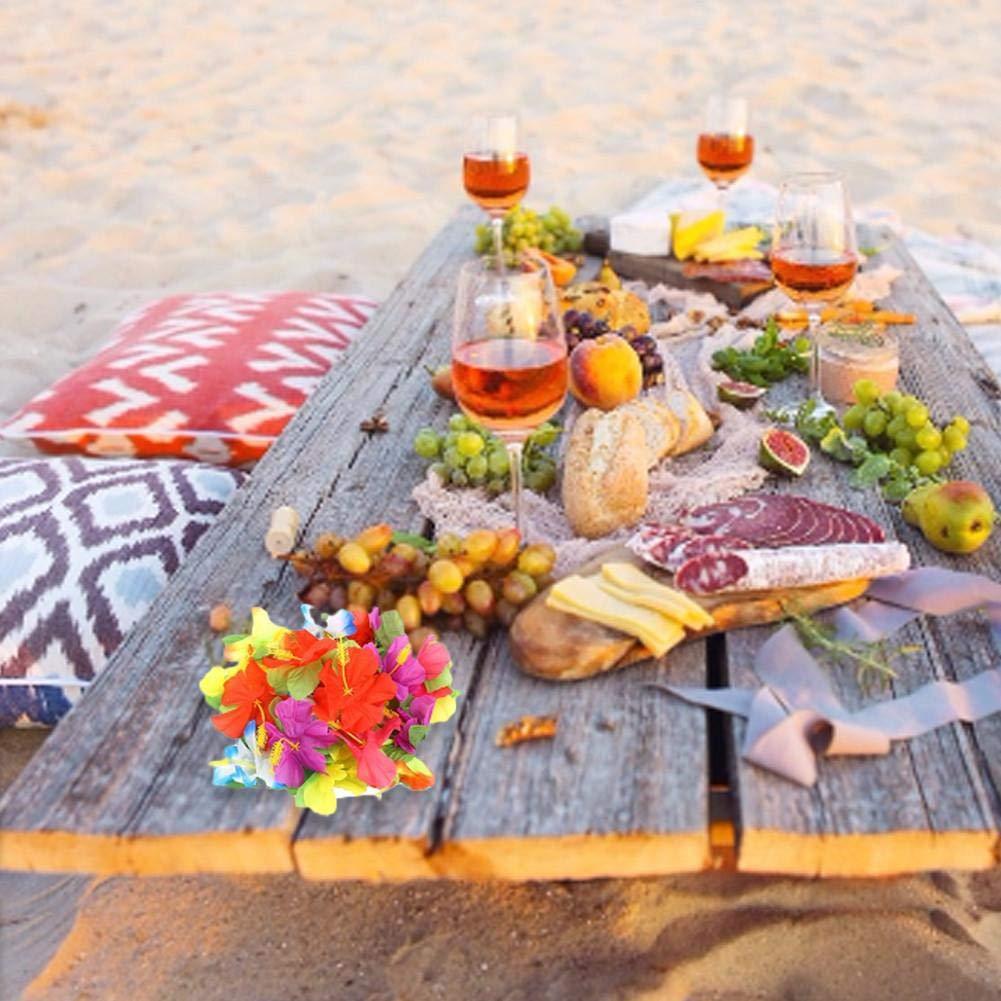 ombrelli e cannucce per Il Partito Luau Hawaiano Foglie di Palma Fiori hawaiani 149 Pezzi di Kit per la Decorazione del Tavolo da Festa Tropicale Inclusi 9 Piedi Gonna da Tavolo