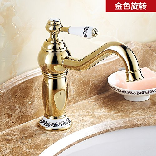H LHbox Basin Mixer Tap Bathroom Sink Faucet The golden taps continental taps full copper bathroom American hot and cold bluee-tiled table top basin gold plated antique faucet,G