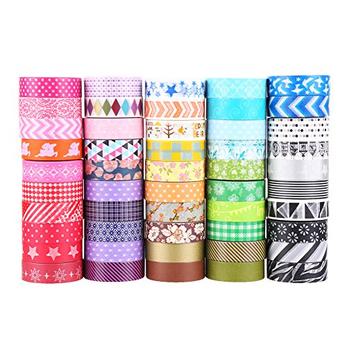 LOKIPA Washi Masking Tape 24 Rolls Random Delivery 0.6 inch Wide Arts and Crafts DIY Decorative Washi Tape for Gift Wrapping Scrapbooking