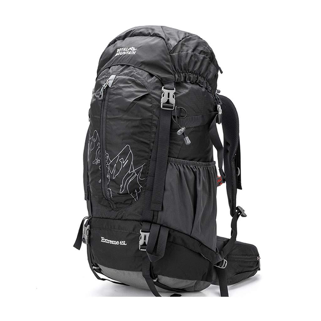 屋外バックパック 登山バッグ屋外通気性撥水バックパック65 L大容量バッグ、マルチカラーオプション HBJP (色 : ブラック) B07RPRW742 ブラック