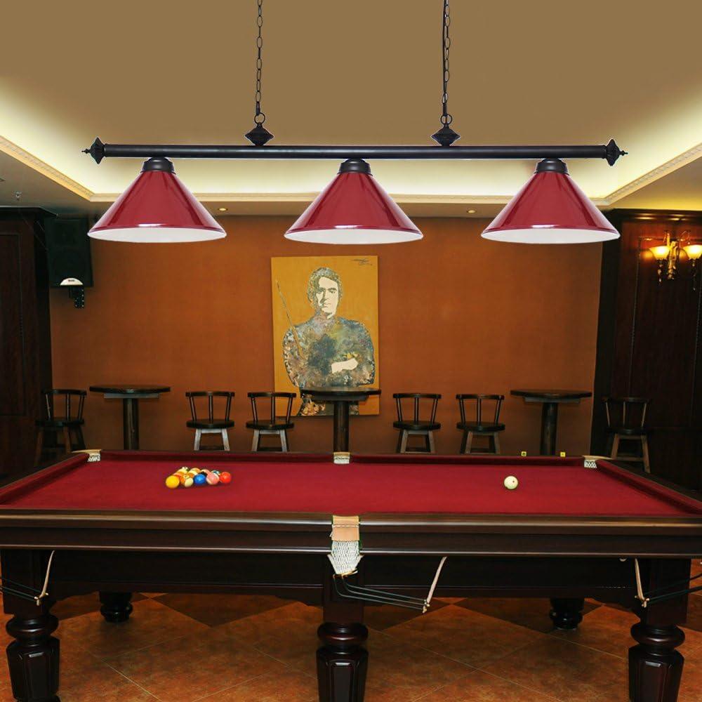 Wellmet Luz Para Mesa de billar con 3 Pantallas de lámpara de metal mate, luz de isla de cocina rústica Luminaria de suspensión(Rojo): Amazon.es: Iluminación