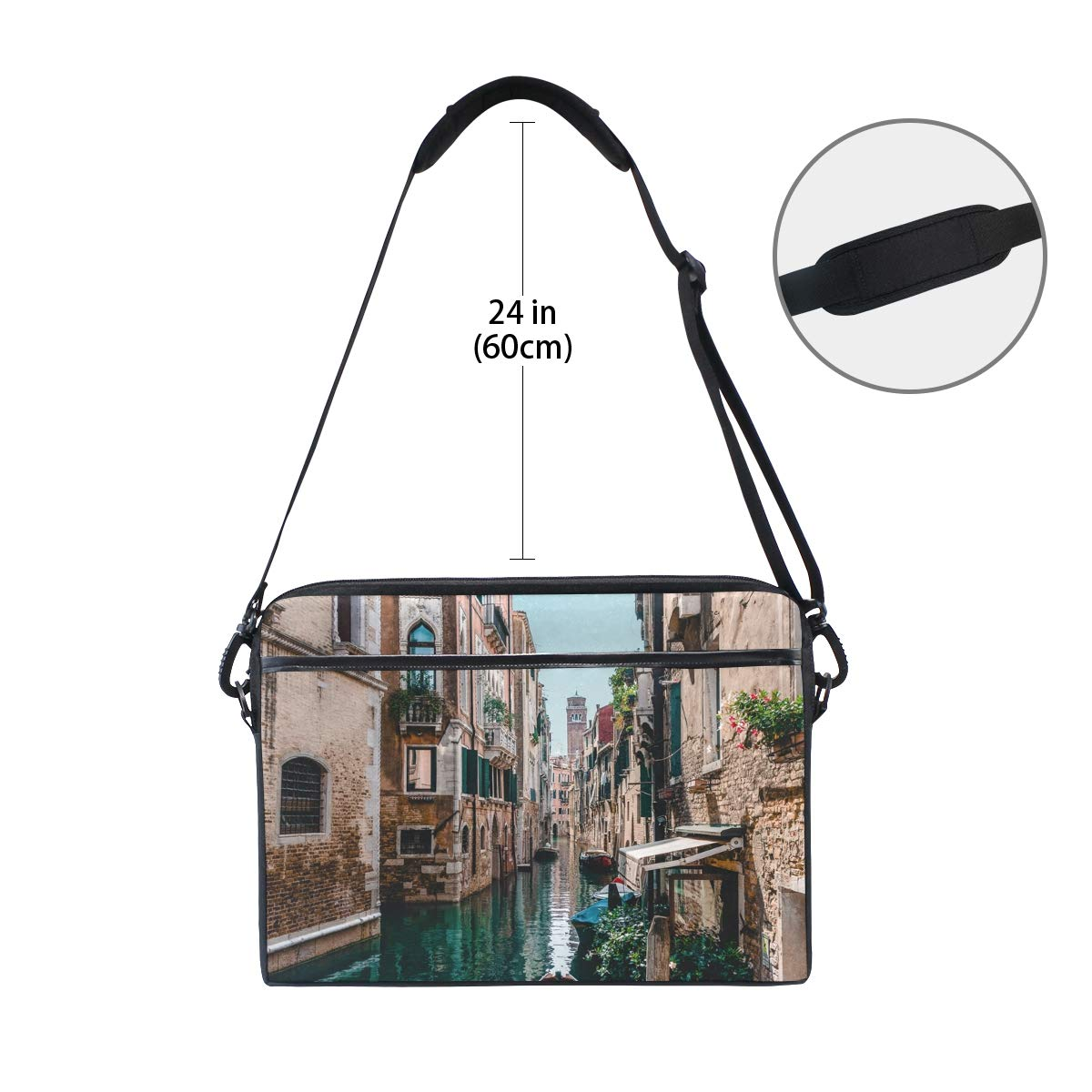 Shoulder Bags Suitable for 15 Inch Computers Water City Mens and Womens Computer Bags Handbags Briefcases