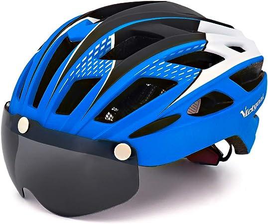 VICTGAOL Casco Bicicleta Helmet Bici Ciclismo para Adulto con Luz Trasera LED Visera Extraíble Hombres Mujeres Adultos de Bicicleta para Montar