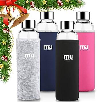 MIU COLOR Elegante Botella de agua para llevar de Vidrio Borosilicate Real