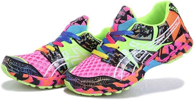De la Mujer Acolchado Gel Noosa Tri 8 Trail Carretera Running Sport Competencia de Carreras de Zapatos Calzado Zapatillas en Camuflaje Rosa Naranja, Mujer, Camouflage Pink Orange: Amazon.es: Deportes y aire libre