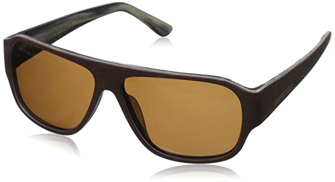 7ec61f3a26 Image Unavailable. Image not available for. Color  Hang Ten Gold The Balsa  Fish-Brown 2 Tone Wood Brown Lens Sunglasses