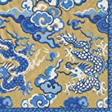 Gold Party Supplies Cocktail Napkins 50th Anniversary Chinese Decorations Dragon Blue Pk 40