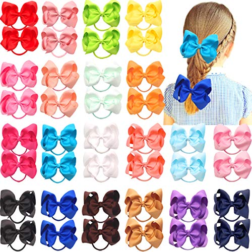 40Pcs 4.5 Inches Boutique Pops Hair Bows Elastic Hair Ties Grosgrain Ribbon Big Cheer Bow Ponytail Holder Rubber Hair Bands for Girls Toddlers Kids Teens In Pairs (Size 40 Rubber Bands)