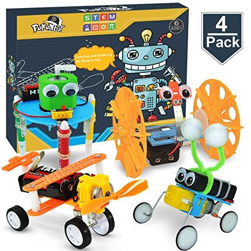 POKONBOY 4 Sets DIY Science Experiment Kits for Kids, Electric STEM Motor Robotics Engineering Circuits Chemistry Kits for 8-18 Years Boys- Girls-Doodling, Balance Car, Reptile Robot, Biplane