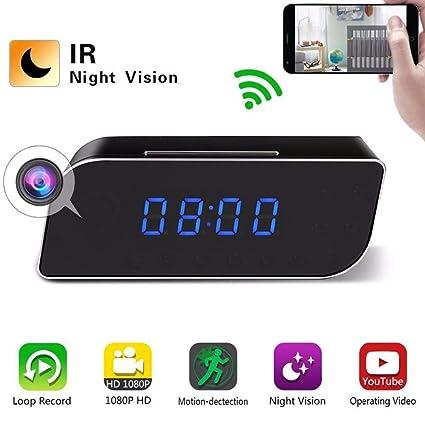 HEDDK Reloj Despertador Digital HD 1080P WiFi Mini Cámara Reloj Despertador Seguridad Reloj de Detección de
