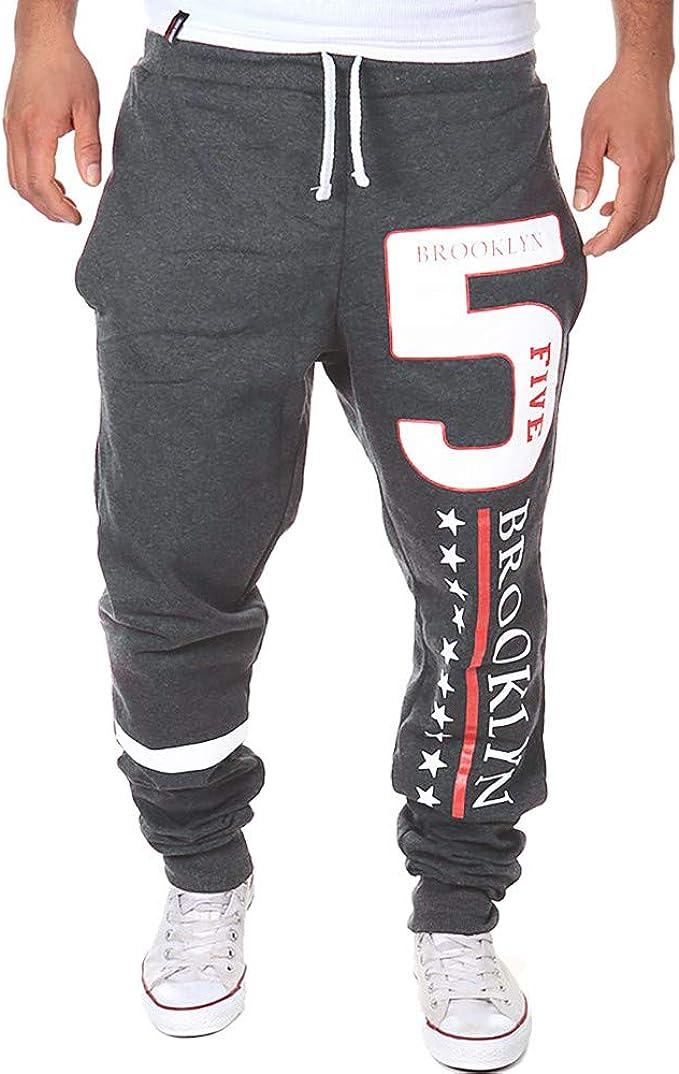 FRAUIT Pantalones para Hombre Impresión de Letra Pantalones de ...