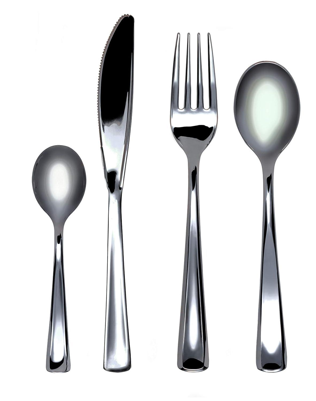 Party Pack INJFOR50C10N-P 50 x Metallic Finish Plastic Forks SKU
