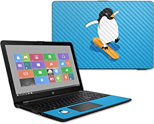 "MightySkins Carbon Fiber Skin for HP 15T Laptop 15.6"" (2017) - Skater Penguin 
