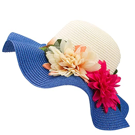 Suiez Women s Sun Hat Foldable Large Wide Brim Straw Crocheted Straw Hat  Summer Beach Cap Wide 7a73b1c99ad7