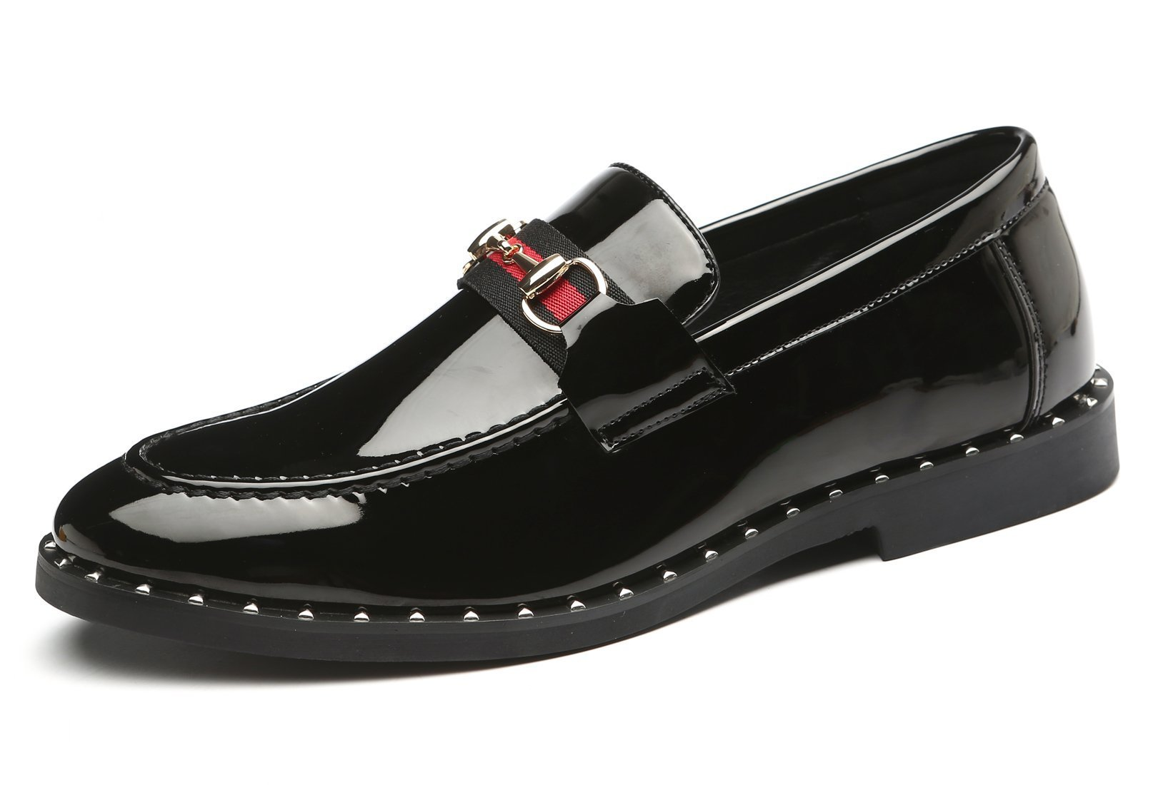 Santimon Loafers Mens Patent Leather Metal Buckle Driving Boat Moccasins Casual Slip on Shoes Black 11 D(M) US by Santimon