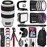 Canon EF 70-300mm IS USM Lens + 6PC Graduated Filter Set + LED Kit + Stabilizing Handle + UV-CPL-FLD Filters + Macro Filter Kit + 72 Monopod + Lens Hood + 16GB Class 10 - International Version
