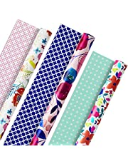 Hallmark 5EWR2433 All Occasion Reversible Wrapping Paper for Birthdays, Bridal Showers, Baby Showers, Mothers Day, and More (Feminine Florals, Pack of 3, 120 sq. ft. ttl.)