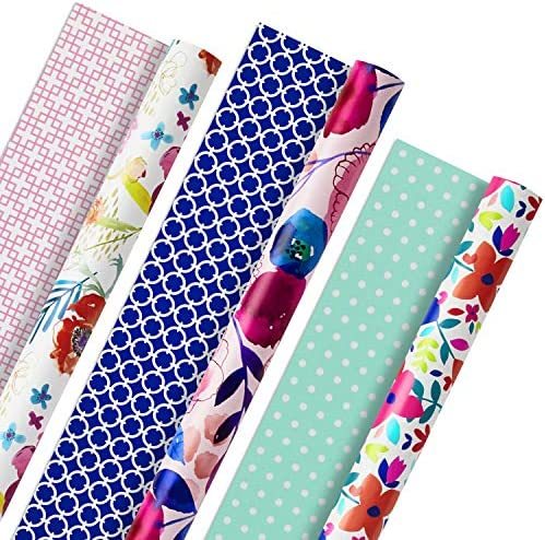 Hallmark All Occasion Reversible Wrapping Paper (Feminine Florals, Pack of three, 120 sq. toes. ttl.) for Easter, Mothers Day, Birthdays, Bridal Showers, Baby Showers or Any Occasion