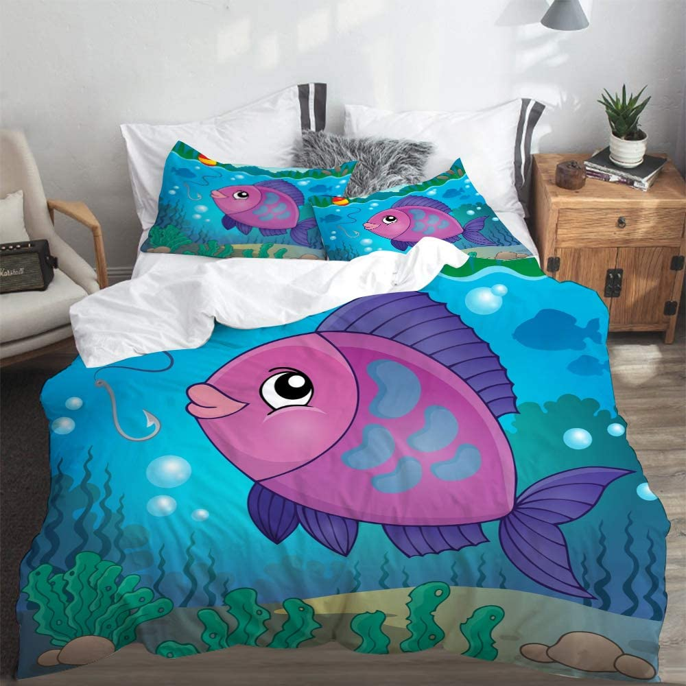 LONSANT Duvet Cover Set King Size Freshwater Fish Topic Image 6 eps10 Light Weight Bedding Set 1 Duvet Cover with 2 Pillowcases